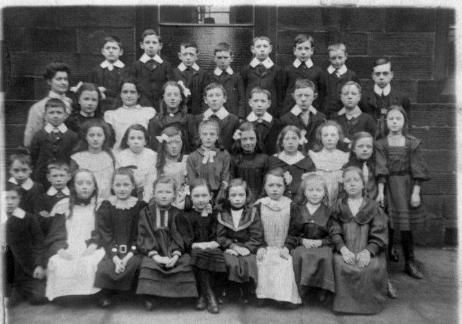 St. John's School (about 1905). Annie Buckley is at the right of the second front row.