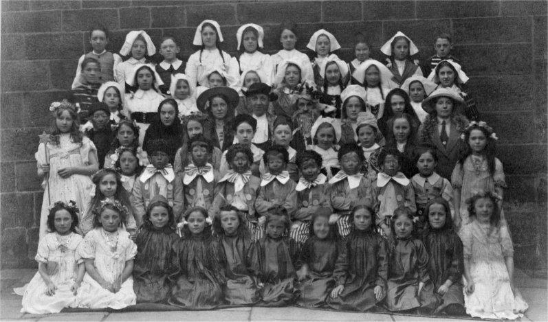 St. John's School, pantomime cast (about 1910). Annie Buckley is in the back row, fifth from the left