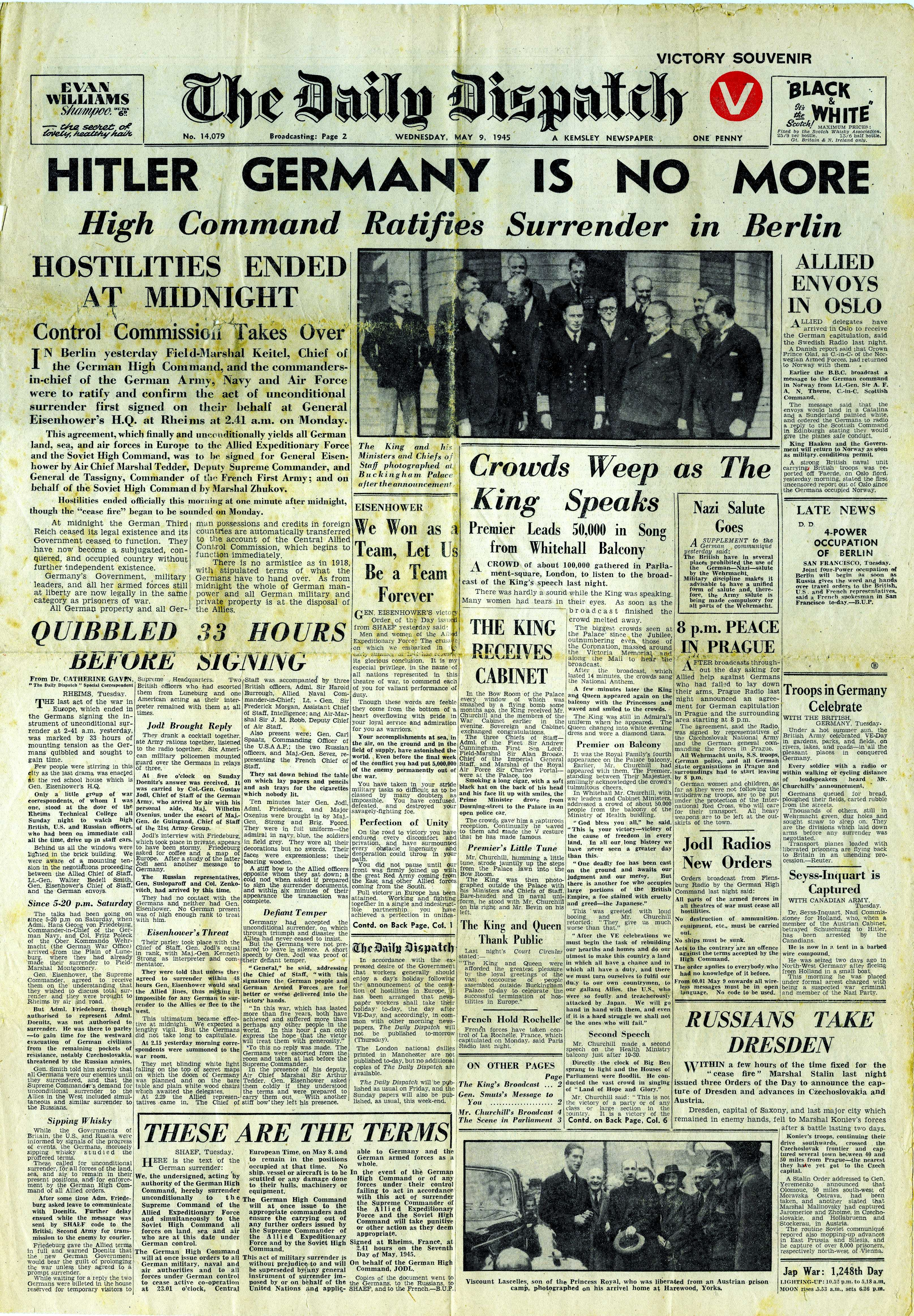 Wednesday, 9th May 1945 - The Daily Dispatch, page 1