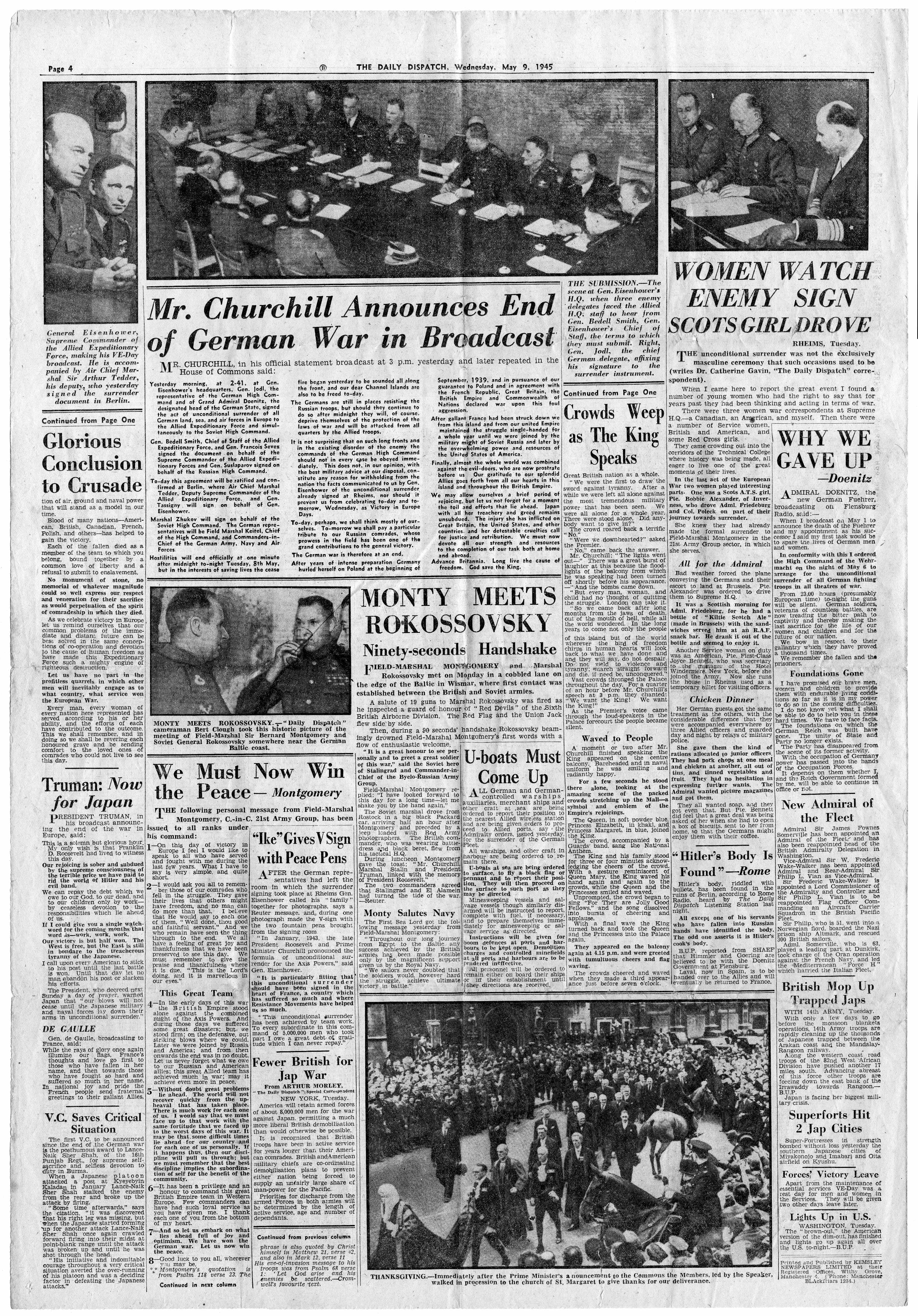 Wednesday, 9th May 1945 - The Daily Dispatch, page 4
